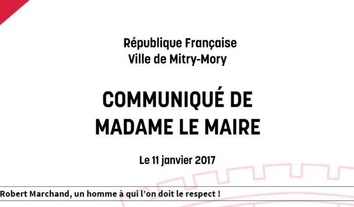 Communiqué de madame le maire